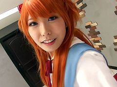 There are some girls really good at pleasing their partners. Usually the exotic beauties coming from Japan. The babe in the video has long orange dyed hair and wears a costume. She seems to enjoy teasing and playing with her lover´s cock from the 69 position. Watch her getting really horny!