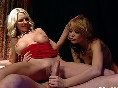 Slutty and booty light haired babe gets her dripping pussy fucked hard doggystyle licking the pussy to blonde with nice boobs. Have a look at these chicks in Brazzers Network sex video.