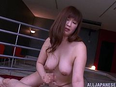 A big breasted Asian MILF fingers and toys herself with different sex toys. Then Reiko Shimura gives a handjob and gets cowgirl fucked.