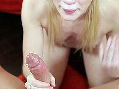 Leggy blonde spreads her legs wide open and jerks off big cock sending it deep in her throat from time to time. Be ready for extremely hot deepthroat blowjob sex video for free.
