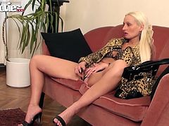 Two versed bitches are in good mood and share their intimate moments with the camera. The blonde mom and the hot brunette are both wearing high heels, provocative lingerie and underwear with leopard print. They seem very content about using sex toys such as a vibrator or a dildo. Click to see for yourself!