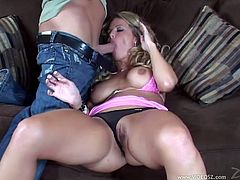 Be part of this video where a blonde pornstar, with big knockers wearing panties, gets fucked hard over a couch and moans like a wild cougar.