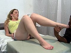 White trash girl with big booty visits doctor to check her body. Nasty black dude rudely starts licking babe's salty armpits and delicious feet. Thick honey takes off her daisy dukes and asks her doctor to eat her shaved pussy.