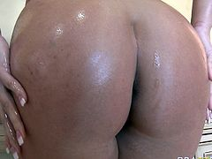 Attractive busty and booty tattooed girl with nice curves gives a great blowjob after the bath. Have a look at thus chick in Brazzers Network sex video.