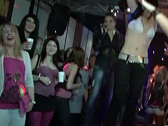 When the guys hit the stage these drunk girls let it all hang out. They strip off their clothes and get into some hardcore fun.
