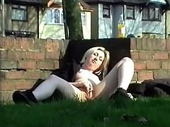 Tenderfoot blondes open-air self-stimulation and public nudity of Awesome mature inside homemade exh