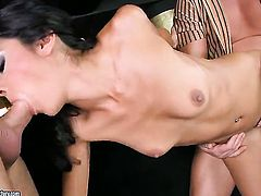 Brunette Lou Charmelle lets man put his rod in her mouth