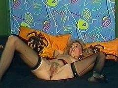 Attractive light haired babe with nice body and in sexy black stockings gets her cunt licked and sucks the balls. Have a look at this chick in The Classic Porn sex clip.