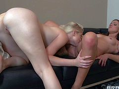 Blonde cutie Charlotte Stokely is a pussy-hungry lesbian chick with thick ass and small natural tits. She eats brunettes pussy with appetite and then drills her pink wet hole with dildo.
