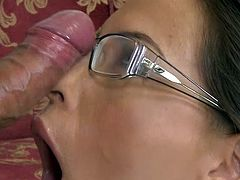 Naughty secretary is in for a tasty dong to crack her wet fanny and fill that naughty mouth with jizz