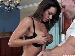 Attractive dark haired whore with nice curves and big boobs gets drilled and gets a titfuck. Have a look at this chick in Brazzers Network sex video.