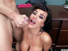Have fun with this amazing scene where the busty mommy Lisa Ann ends up with her face covered by warm semen after being fucked by a large cock.