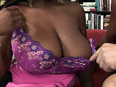 Well-endowed black hottie Alisha Madison pleases a guy with a hot blowjob. Then she rides his wang and her big ass shakes like jelly.