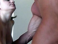 Kat is a horny bitch who takes on two cocks, one white and one black. This horny masseuse explains to her that touching and fingering her vagina is stress relief as well as 2 cocks at once!