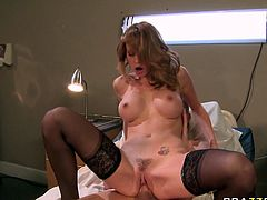 Amazing and horny bitch with nice body and in sexy stockings gets her dripping pussy fucked hard. have a look at this whore in Brazzers Networks sex clip.
