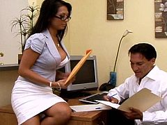 Hot secretary is in great need to have her boss smacking that shaved twat in wild fuck at the office scene