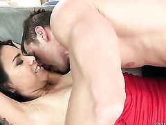 Johnny Castle gets turned on by Dana Vespoli and then bangs her mouth after she takes it in her ass