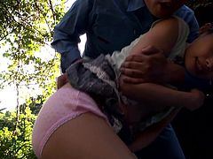 These maintenance workers lay down a tarp and have their way with this tiny Japanese babe. she is leaking though her panties, so they undress her and finger her delicious cunt. She moans as the men explore her body.