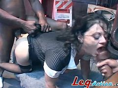 De Bella loves hardcore. So, she gets gangbanged by Blacks. Guys fuck this busty MILF in her pussy and ass. She also sucks big black cocks and gets facialed massively.