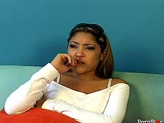 Gorgeous Asian secretary talks on the phone with her girlfriends
