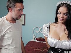 Check out this hardcore scene where the busty Mackenzee Pierce wears a sexy maid outfit while being fucked and facialized by this guy.