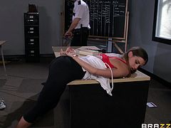 Masturbate as you watch this brunette pornstar, with a great backyard wearing a cute bra, while she goes hardcore with a mean officer.