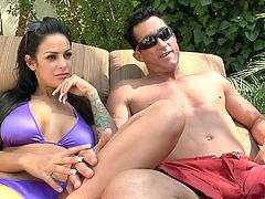 What a sexy one Penny Flame is! She gets naked with Angelina Valentine and now they are going to fuck two dudes. Dudes are in heaven!