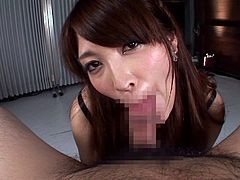 If you are into Asian sexy girls, then welcome to the club! A guy sitting comfortably in a leather armchair is experiencing hot thrills. The Japanese chick is wearing a black bra and fishnet stockings which seem to be a huge turn on. Enjoy watching the busty lady getting down on her knees to suck dick.
