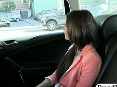 Cute brunette amateur chick pounded with fraud driver