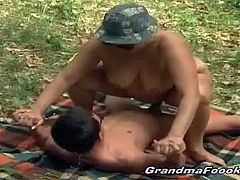 Bbw granny getting horny in places especially getting alone with her younger partner in a seclude place. She suck the hell out of her young dick and rode it to heaven.