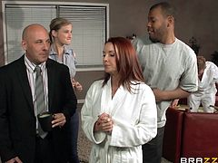 A redhead chick takes off her clothes and gets oiled up. Janet gets massaged by Bill Bailey. The girl gets so damn horny that gives a blowjob to the masseur. Of course then she gets fucked in her dripping pussy.
