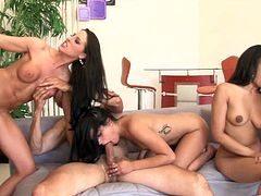 Annie Cruz, Kortney Kane and Missy Maze are having fun with three men. These girls suck large dicks and get fucked in all holes.