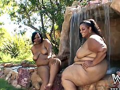 These chunky beauties have rolls upon rolls that need to be fondles. The black hotties are out in the grotto and swimming area enjoying the waterfalls as they get drenched. After toweling off the bbw head indoors to get fucked by there black male friend. They suck cock and get pounded from behind.