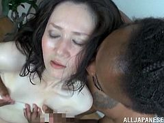 She has never had sex with a black man and today she is going to do it! Honey gives a nice handjob and then he fucks her so hard.
