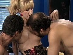 Light haired whorish wench in sexy black lingerie gets nice FFM fuck in the office. She lies on table and gets her mouth and hairy pussy banged simultaneously from both sides.Watch that steamy threesome in The Classic Porn sex clip!