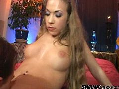 Sexy Jamie shows off her tight little body as she strips off her lingerie then she gets her ass hammered hard so and loves every second.