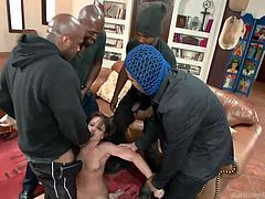 Four guys stick to the plan to teach beautiful Jennifer a lesson. The naked babe cannot possibly run away as they hold her tight and lock inside the house. See her sucking cock from on knees position. Enjoy the part where the bitch is knocked down on the couch and terribly fucked in the ass.