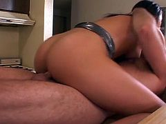 Lovely brunette wife gets really horny and get drilled deep by her husband in the kitchen.