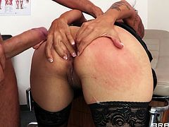 Damn, what a smoking hot one Dana Vespoli is! She is getting down on that thick cock and it's moving so hard in her tight beaver.