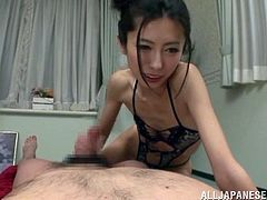 View this slim Japanese whore as she gets to slurp on a very big dick. Small tit slut strokes it well and gets sprayed afterwards.