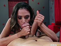 Take a look at this hardcore scene and watch the busty mom Ariella Ferrera fucking one of the guys living right next to her in order to keep their noise down.