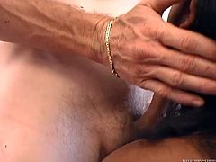 Kinky and attractive dark haired booty bitch with nice boobs gives a blowjob to the crowd. Have a look at this chick in Fame Digital sex video.