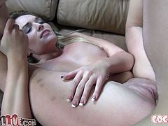 This sex-starved bimbo likes to be on top. She rides her lover's dick passionately making her fine ass bounce up and down. Then she spreads her legs wide to let her horny lover fuck her tight pussy in missionary position.