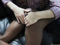 When she notices the big bulge in her lover's pants, cock crazed ebony whore decides to try it out. She takes his shaft in her mouth and starts to suck it passionately.