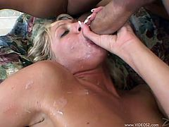 Take a look at this hardcore scene where the slutty blonde Holly Wellin ends up with a messy facial after being fucked silly by a guy with a large cock.