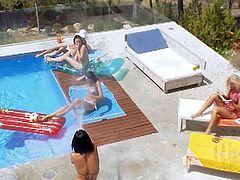 Adrianna Nicole, Leo, Lily, Megana and Mia just can't stop having fun on this hot summer day at the pool. Watch how they undress before start playing with their holes.