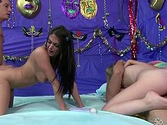 Two horny bitches ride one lucky dude. One sits on his face and gets her pussy licked and another one hops on his hard shaft. It's a time for provocative sex tube video featuring crazy sex orgy.