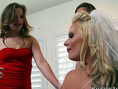 This stunning chick in red dress wants to fuck her busty friend's fiance right on the wedding. You won't believe how bad this chick is until you watch this awesome sex video.