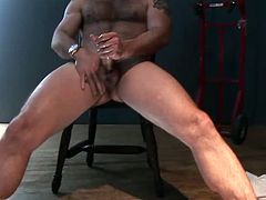Morgan Black is horny as hell and he pulls his cock out. He wastes no time and starts to stroke it like a real champ for all of his horny fans then shoots a big load.