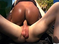 This white guy wanted some black ass so he hooked up with an ebony stud, got some head then let him ride his thick, white cock.